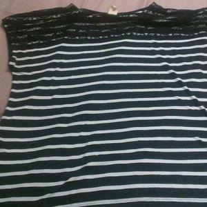 Faded Glory stripe w/ lace accessory shirt
